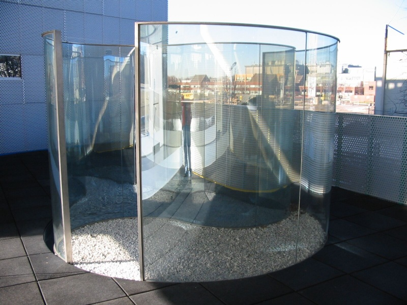 modern architectural glass artwork outside