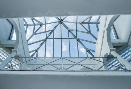 roof skylight window in modern building during sunny day