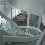 patterned glass staircase inside home