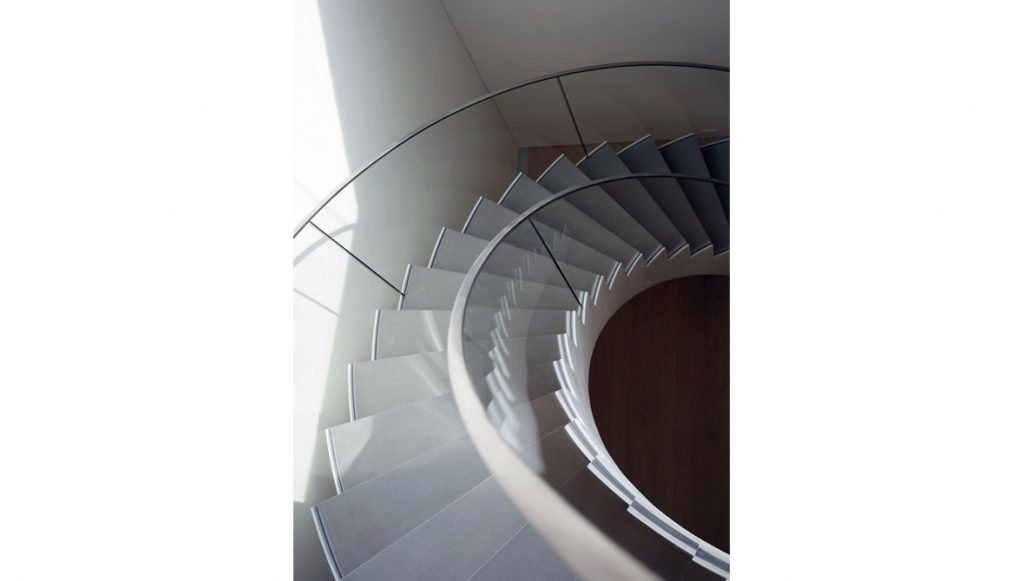 glass railing spiral stairs