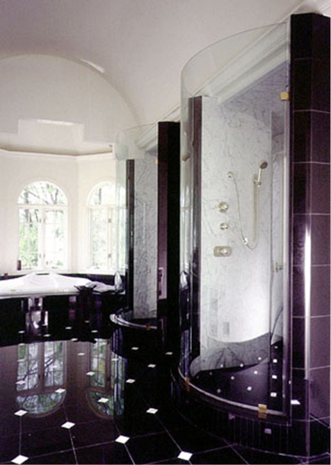 Shower door with laminated glass