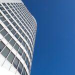 Architectural glass design in skyscraper