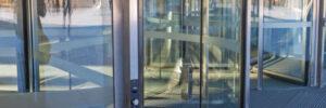 Bent Glass Design provides glass designs for revolving glass doors
